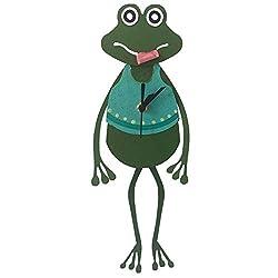 Oxidos Handmade Green Frog Wall Clock Teal with Swinging Pendulum