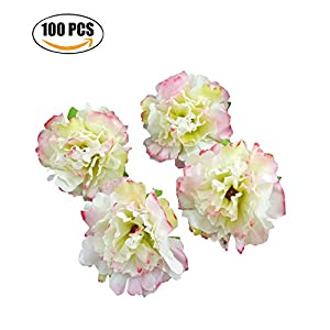 Flower Head, Funpa 100PCS Artificial Flower Carnation without Stem Fake Flower for Wedding Decoration 53