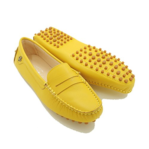 Minitoo - Mocasines de ante para mujer Yellow-Nubuck Leather