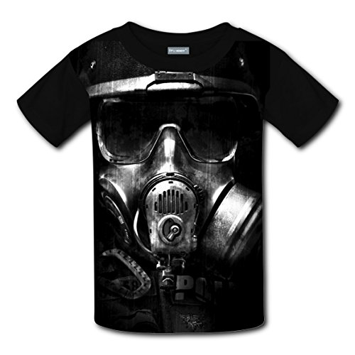 [Gas Mask Cool T-shirts Tee Shirt for Kids Tops Costume Round Black L] (Cool Gas Mask Costumes)