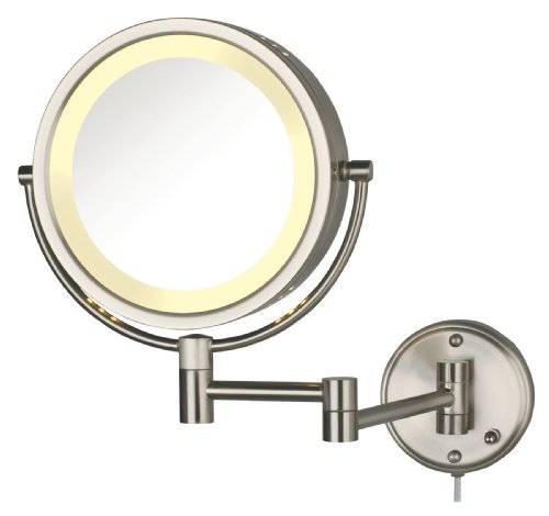 Jerdon HL75N 8.5-Inch Lighted Wall Mount Makeup Mirror with 8x Magnification, Nickel - To Frame Around Company Mirrors Bathroom