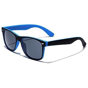 Classic Retro Fashion 2 Tone Sunglasses - Black & Blue