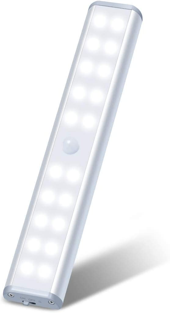 Under Cabinet Lighting Motion Sensor Closet Light 20 LEDs Rechargeable 1000mAh Wireless Stick-on Night Light for Kitchen, Bedroom, Stairs