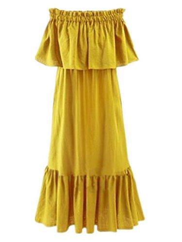 BESTHOO Femelle Unie Nue Epaule Femme t avec Volants Yellow Dress Robes en Couleur ElGant De Robe Robes Hipster Cocktail Midi Epaule Robes Chic Mot w7Zxw