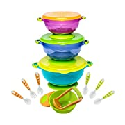 BABY FEEDING BOWLS with TODDLER UTENSILS - Ultimate Baby Feeding Set | Mash and Serve Bowl | Baby Utensils and Baby Bowls | Perfect Baby Shower Gift | Orange and Green