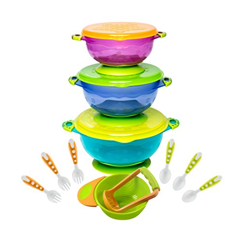BABY FEEDING BOWLS with TODDLER UTENSILS - Ultimate Baby Feeding Set | Mash and Serve Bowl | Baby Utensils and Baby Bowls | Perfect Baby Shower Gift | Orange and Green from Lullababy