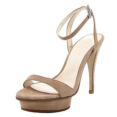 Calaier Mujer Cacatcat Tacón De Aguja 11.5CM Sintético Hebilla Sandalias de vestir Zapatos Beige