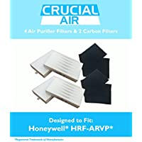 4 Honeywell R Air Purifier Filter & 2 A Carbon Filter Kit Fits HPA090 series, HPA100 series & HPA300 series, Compare to Part # HRF-ARVP, Designed & Engineered by Crucial Air