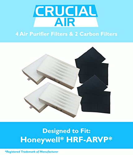 4 Honeywell 'R' Air Purifier Filter & 2 'A' Carbon Filter Kit Fits HPA090 series, HPA100 series & HPA300 series, Compare to Part # HRF-ARVP, Designed & Engineered by Crucial Air