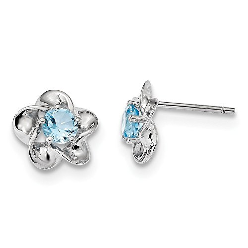 925 Sterling Silver Floral Blue Topaz Post Stud Earrings Set Birthstone December Flower Fine Jewelry Gifts For Women For Her