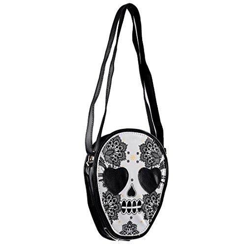 SODIAL(R) Frau Mini personalisierte Messenger Handtasche niedlichen Schaedel Kopf Kuriertasche/ Umhaengetasche