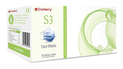S3060B Cranberry Series S3060 Earloop Face Mask, Blue (Pack of 50)