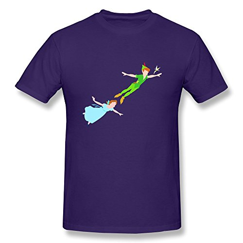 Organic Cotton Short Sleeve Slim Fit Peter Wendy And Tink Men's T Shirt Size L Purple