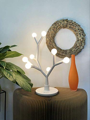 Fugetek LED Table Desk Tree Branch Lamp, Whimsical, 750 Lumen, 8W, Modern Unique Design, Interchangeable Branches, 8 Warm Round Bulbs, Use Anywhere Home/Office/Dorm, White - CREATIVE, FUN, UNIQUE, LED LAMP - This Stylishly Designed Table Lamp Brings Any Room To Life. With 8 Bulbs Of Subtle Warm White Light, You Can Have Great Mood Lighting Anywhere. This Table Lamp Is An Excellent Focal Point in an Office, Bedroom or Living Area. You Will Love It. READY FOR YOU TO CUSTOMIZE - You Can Design This One Of A Kind Table Lamp To Your Choosing. Each Branch Piece Is Easily Configurable With Hundreds Of Combinations And Designs. Our Interactive Lamp Lets Your Mind Do The Creating, And Bring Life To A Room. YOUR EYES WILL THANK YOU - Relax Your Eyes. Our Lamp Offers Warm Light Brightness, No Flickering Or Harsh Effects On The Eyes. 8W, 750 Lumen. - lamps, bedroom-decor, bedroom - 41paRjDqL0L -
