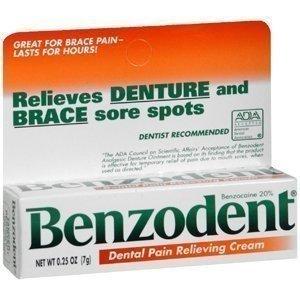 Benzodent Denture Cream .25 Oz, Pack of 18