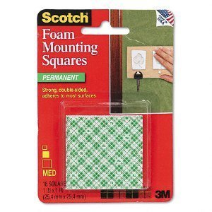3M Adhesive Tabs Mounting Double-Sided Foam Tape Squares, 1-Inch 32 Tabs