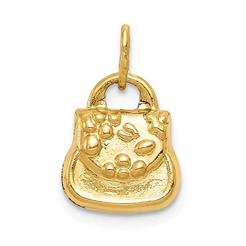 14k Yellow Gold 3 D Purse Pendant Charm Necklace Fine Jewelry Gifts For Women For Her ()