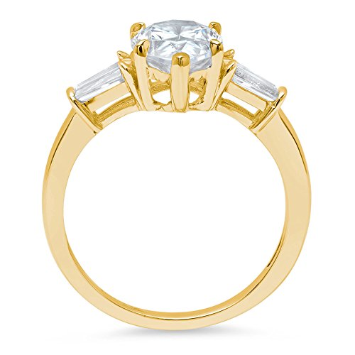 2.7ct Pear Baguette Brilliant Cut 3-Stone Statement Classic Designer Solitaire Anniversary Engagement Wedding Bridal Promise Ring Solid 14k Yellow Gold For Women, 7 by Clara Pucci (Image #1)