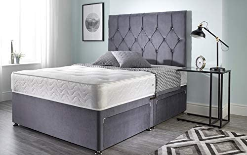 Bed Centre Ziggy Grey Plush Sprung Memory Foam Divan Bed With Mattress, No Headboard, No Drawers (Single (90cm X 190cm))