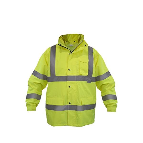 JORESTECH Safety Rain Jacket Waterproof Reflective High Visibility with Detachable Hood and Interior Mesh Yellow/Lime… 2
