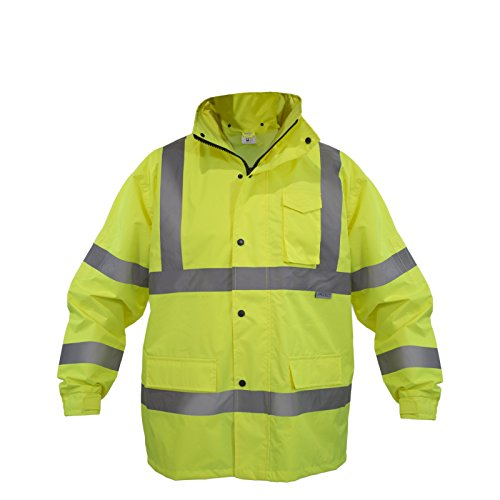 JORESTECH Safety Rain Jacket Waterproof Reflective High Visibility with Detachable Hood and Interior Mesh Yellow/Lime ANSI Class 3 Level 2 Type R JK-03 (2XL) 2