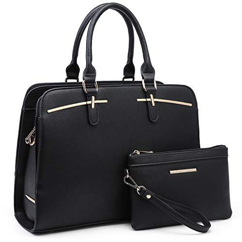 Women Handbag Fashion Satchel Multi Pockets Purse 2 Pieces Set Triple Compartment Shoulder Bag Faux Leather