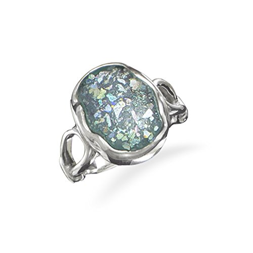 Ancient Roman Glass Ring with Oval Stone Sterling Silver, Size 7 (Glass Roman Stone)