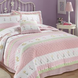 Tara Stripe Twin Quilt with Pillow Sham by Pem America