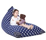 Jorbest Stuffed Animal Storage Bean Bag Chair Kids Pouf, Premium Cotton Canvas Cover, Kids Soft Toy Organizer Makes Comfy Lounger Bed (COVER ONLY) - Navy with White Stars, Fits 200L/52 Gal