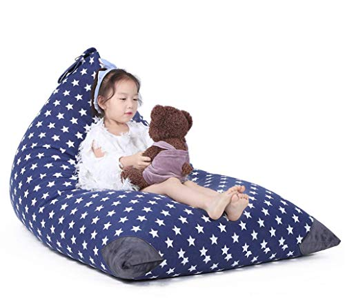 Jorbest Stuffed Animal Storage Bean Bag Chair Kids Pouf, Premium Cotton Canvas Cover, Kids Soft Toy Organizer Makes Comfy Lounger Bed (COVER ONLY) - Navy with White Stars, Fits 200L/52 Gal by Jorbest