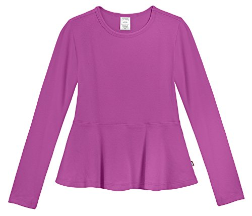 City Threads Big Girls' Cotton Long Sleeve Peplum Top Blouse Shirt for School, Parties Or Play Perfect for Sensitive Skin and Sensory Friendly SPD, Plum, 4