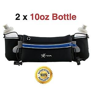 Hydration Running Belt, Neoprene Waterproof Running Gear Belt Fitness Belt - Fits iPhone 6 Plus - with 2 BPA Free Water Bottles