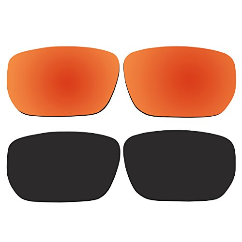 Replacement Polarized Fire Red and Black Lenses for Oakley Style Switch Sunglasses