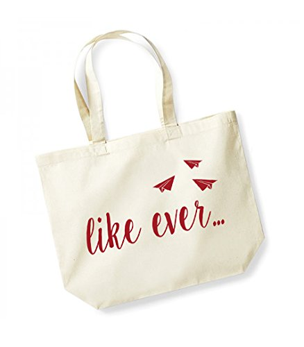 Like Unisex red Print Kelham Ever Cotton Canvas Natural Tote Bag Slogan ATnwq06F