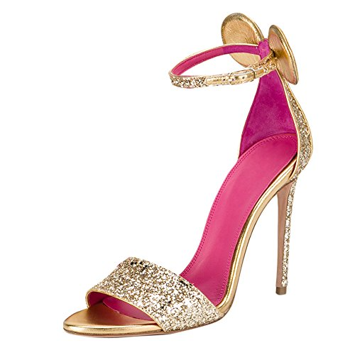 Onlymaker Women's Open Toe Minnie Decoration Ankle Strap Pink Insole Stiletto High Heel Sandals Glitter 6 M US