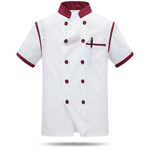 WAIWAIZUI Chef Jackets Waiter Coat Short Sleeves Back and Underarm Mesh Size L (Label:3XL) White Red by WAIWAIZUI