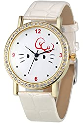 Hello Kitty Crystal Face Watch Hello Kitty White Band Watch, SUNSHINE