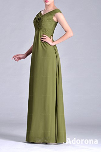 Chiffon Special Occasional Long V Bridesmaid A neck Dress White Natrual line Straps CtHwqOax