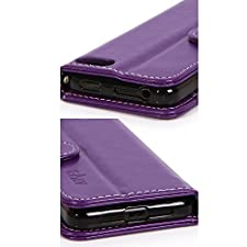 E LV Amazon Fire Phone Case Cover – Deluxe PU Leather Wallet Flip Case with 1 Stylus for Amazon Fire smatphone with 1 Stylus (Purple)