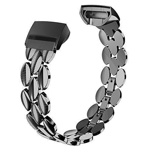 Wearlizer Compatible with Fitbit Charge 3 / Fitbit Charge 4 Bands for Women Metal Replacement Fit Bit Charge 3/4 hr Band Accessories Strap Bracelet Bangle Silver Rose Gold Black
