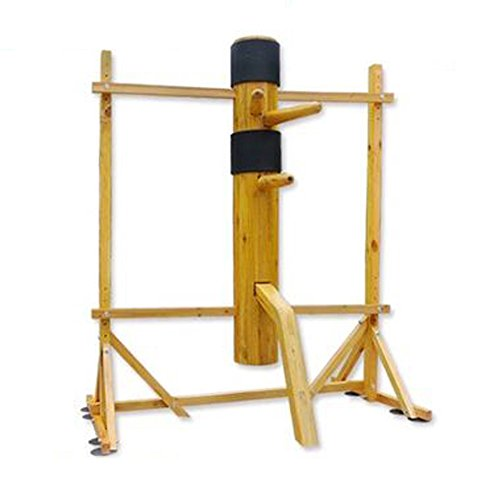 WUDETON Traditional Kung Fu Wing Chun Wooden Dummy with Protective Pads, Wing Chun Wooden Dummy Mook Yan Jong, Ip Man Wooden Dummy with Frame (Natural)