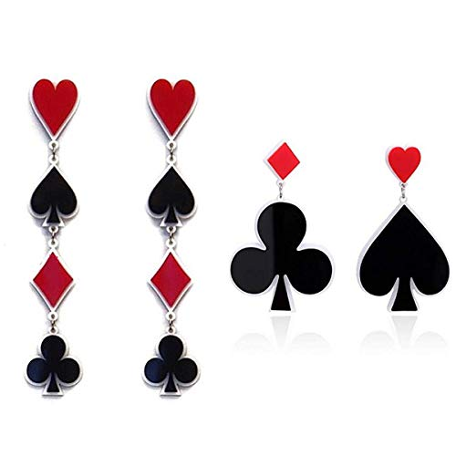 JoJo & Lin Playing Cards Pattern Drop Earrings Fashion Party Gift Charms Heart Spade Aces Club Diamond Poker Acrylic Earring Jewelry Set 2 Pairs Diamond Playing Cards Charm