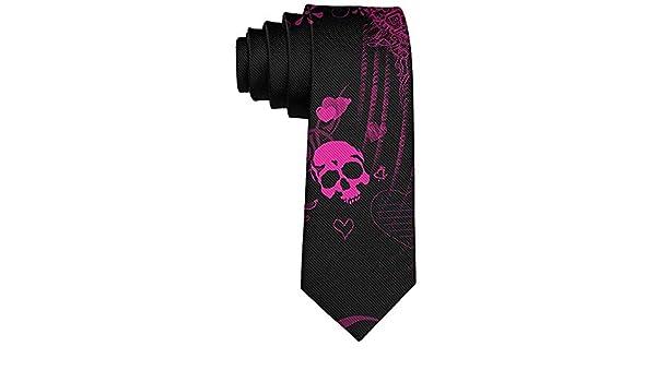 Corbata delgada de poliéster de calaveras de azúcar hippy ...
