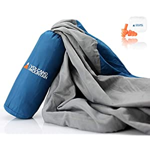 Volcano Mountain Sleeping Bag Liner – Ultra Lightweight Adult Sleep Sack and Travel Sheets for Hotels. Best for Travel, Camping & Backpacking and Hostels.