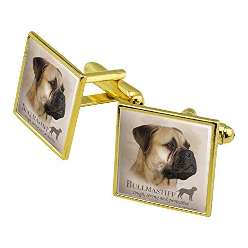 Graphics and More Bullmastiff Dog Breed Square Cufflink Set Gold -