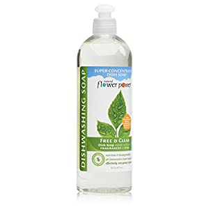 Natural Flower Power - Natural Dish Soap, Free & Clear, Unscented, Effectively Cuts Grease and Grime, Non-Toxic and Biodegradable, Sulfate Free - 16 Ounce (Pack of 3)