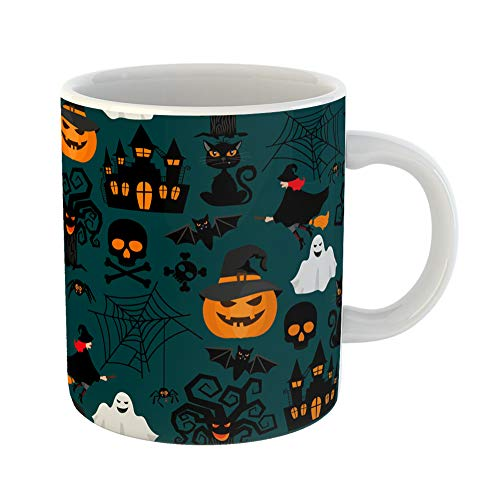 Emvency Coffee Tea Mug Gift 11 Ounces Funny Ceramic Green Pattern Halloween Crafts for Orange Ghost Gifts For Family Friends Coworkers Boss Mug