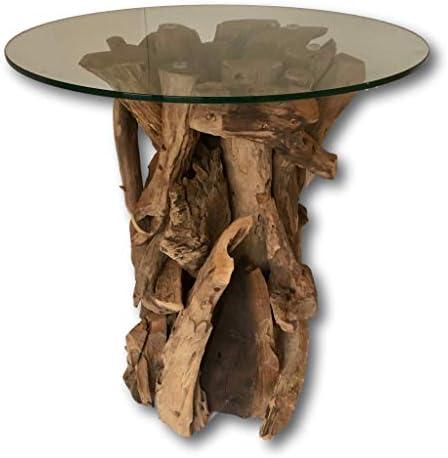 Rustic – Mesa auxiliar de madera de teca Root mesa de café con tapa de cristal – 60 cm W: Amazon.es: Hogar