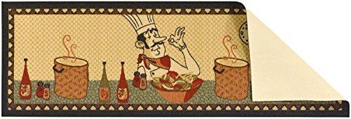 Ottomanson Siesta Collection Kitchen Chef Design (Machine-Washable/Non-Slip) Runner Rug, 20'' x 59'', Beige by Ottomanson (Image #2)