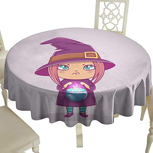 WinfreyDecor Stain-Resistant Tablecloth Halloween Little Witch Girl Kid with Angry face in Halloween Costume with Cauldron Vector Illustration for Kitchen Dinning Tabletop Decoration D59 ()